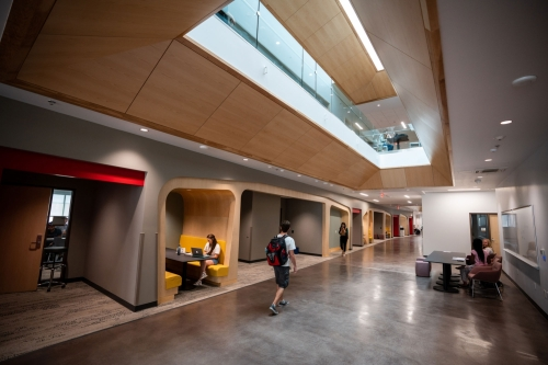 Students study on the third floor in one of the multiple study areas throughout the Carolyn and Kem Gardner Commons.