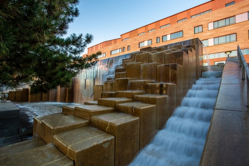 Water feature on the west side of the Carolyn and Kem Gardner Commons.